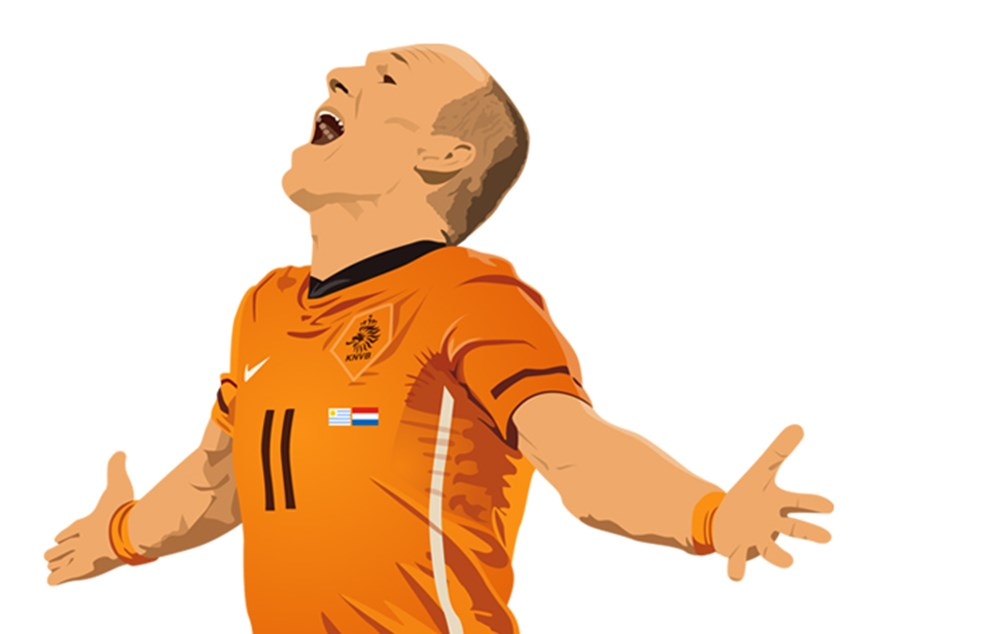 arjen robben illustratie baixo illustraties