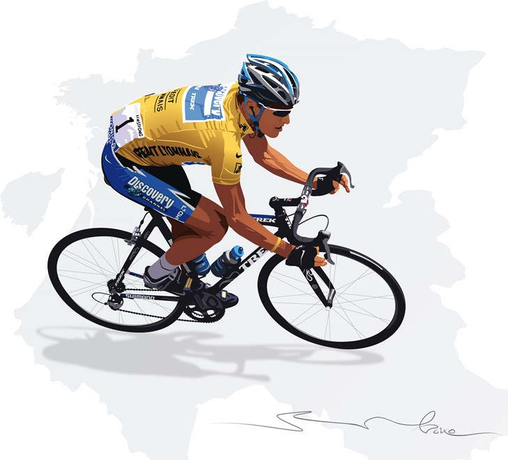 lance armstrong illustratie baixo illustraties
