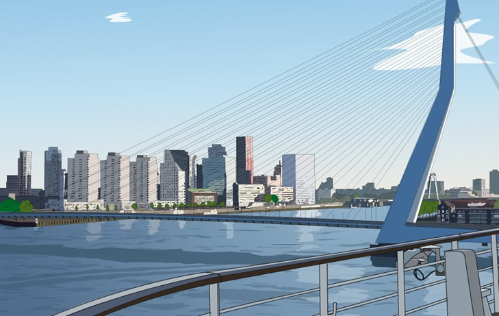 skyline rotterdam baixo illustraties